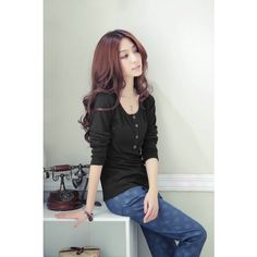 New Fashion Women T-Shirt Crew Neck Long Sleeves Button Decoration Casual Tops