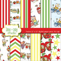 busytown themed digital scrapbook papers by lane + may on Etsy, $7.00