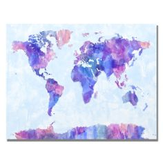 Michael Tompsett 'Watercolor World Map IV' Canvas Art $99.98 30x47 inches