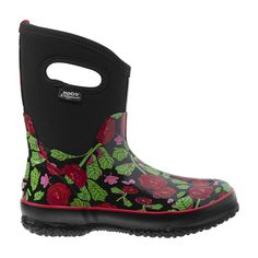 Garden Boots: Rose Print Insulated Waterproof Boots by Bogs® Insulated Rubber Boots, Bogs Boots, Garden Boots, Wide Calf Boots, Waterproof Boots, Shoe Boots, Shoes, Winter Boots, Rubber Rain Boots