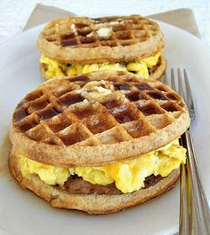 Sausage, egg and cheese breakfast griddle sandwich. Inspired by Paula Deen. Easy frozen whole wheat waffles and a homemade syrup recipe.
