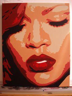 Rihanna - Acrylic on Canvas - 18inch x 14inch - SOLD