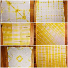 Shibori folded tea towels dyed in turmeric part 2 / by everymomentonce