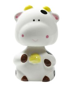 Take a look at this White Cow Bobblehead by Miya Company on #zulily today!