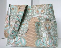 Large -Beach Bag - -Aqua Owl-Hushabye--Tula Pink- Diaper Bag Hobo Bag-School - Adjustable Strap