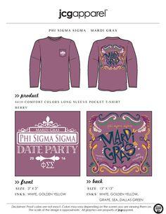 JCG Apparel : Custom Printed Apparel : Phi Sigma Sigma Mardi Gras T-Shirt #pss #phisigmasigma #mardigras