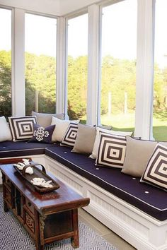 Sunroom idea -- extended window seat for reading, relaxing, whatever! #sunroom