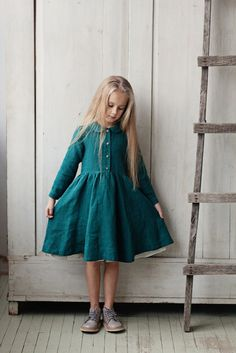 Classic Dress for Girls, Long sleeves, Green Forest