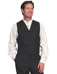 Scully Western Vest Mens Wool Blend Adjustable Back Button 538454