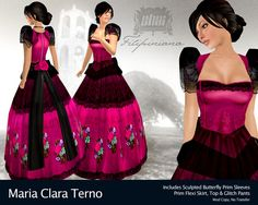 Maria Clara dress is a traditional national costume of the Philippines by claudette Modern Filipiniana Gown, Girls Dance Dresses, Spanish Costume, Philippines Culture, Diamond Dress, Maria Clara, Princess Costumes, Girl Dancing, Costume Dress