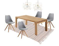 R Diseño Shop. Mesa de comedor de madera de roble maciza ROLL