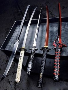 5 different katanas. My favorite is the one on the far right. Comment below which u like most. Ninja Weapons, Anime Weapons, Weapons Guns, Zombie Weapons, Fantasy Sword, Fantasy Weapons, Swords And Daggers, Knives And Swords, Armes Concept