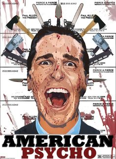 A wealthy New York investment banking executive hides his alternate psychopathic ego from his co-workers and friends as he escalates deeper into his illogical gratuitous fantasies. 90s Movies, Comic Movies, Horror Movies, Movies To Watch, Good Movies, Christian Bale, American Psycho Poster, Roman, To Do This Weekend
