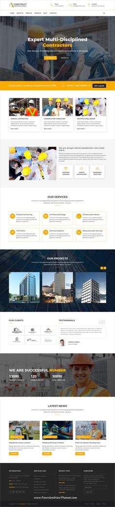 Construct is clean and modern design 4in1 responsive bootstrap HTML #template for #construction and #architects company website to download & live preview click on image or Visit  #webdesigns