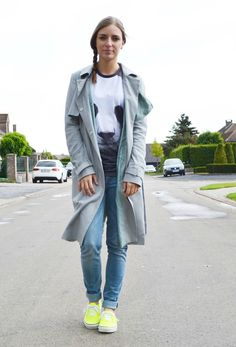 panda tee t shirt mr gugu miss go asos trench coat mac neon yellow vans inspiration outfit outfitpost turn it inside out fashion blogger bel...