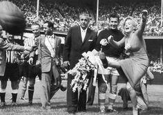 Marilyn Monroe kicks a ball at Ebbets Field, New York - Retronaut