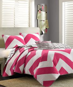 Look at this #zulilyfind! Pink Zigzag Brittany Quilt Set by JLA Home #zulilyfinds
