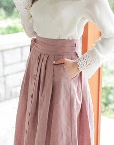 Wrap Skirt - Doremi Indi Pink/Korean skirt/K-style/Korean fashion/도레미 인디핑크 Modest Outfits, Skirt Outfits, Modest Fashion, Hijab Fashion, Dress Skirt, Fashion Outfits, Modest Clothing, Waist Skirt, Apostolic Fashion