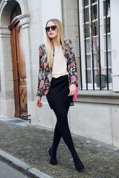 floral blazer with skirt