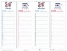 shopping list, to-do list, pdf