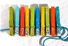 10 CHRISTMAS CLOTHESPINS hand painted magnetic by SugarAndPaint, $27.00