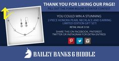 Bailey Banks & Biddle - Miromar Outlet Announces Summer Jewelry Giveaway to win a 2 Piece Honora Pearl Necklace with Earrings