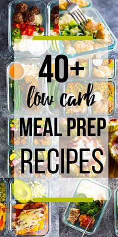 These low carb meal prep recipes have got you covered for breakfast, lunch, dinner and snacks! Carb grams listed so you don't have to hunt them down yourself. via dinner for 7 Low Carb Meal Prep Recipes Lunch Meal Prep, Healthy Meal Prep, Healthy Snacks, Healthy Eating, Meal Prep For The Week Low Carb, Clean Eating, Low Carb Meal Plan, No Carb Meal Ideas, Meal Prep For Breakfast