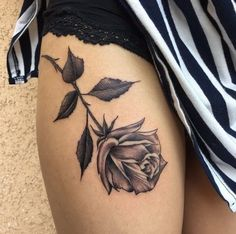 Rose on the leg. Always wanted this as a first tattoo