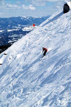 Big Sky, Montana ~ Michael Reveal skis at the Yellowstone Club