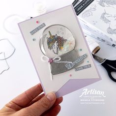 Unicorns Leave a Little Sparkle inside a Still Scenes Snow Globe by Artisan Design Team Member Mikaela Titheridge, UK Independent Stampin' Up! Demonstrator, The Crafty oINK Pen. Supplies available through my online store Horse Cards, Thing 1, Hand Stamped Cards, Beautiful Handmade Cards, Stampin Up Christmas, Shaker Cards, Unicorn Party, Stamping Up, Kids Cards