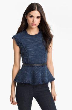 Rebecca Taylor Blue Tweed Peplum Top