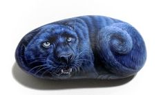Original Hand Painted Black Panther on Natural Rock by RockArtAttack! #rockpainting #paintedstones #blackpuma #stoneart