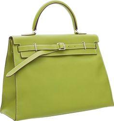 Hermes 35cm Vert Anis Swift Leather Kelly Flat Bag with Palladium Hardware