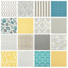 """A Twitter follower asked recently if we had recommendations on yellow and grey fabrics for her bedroom to complement her existing floral bedspread of similar colors. Clara kindly highlighted a few different prints, but I figured others may want to see some yellow and grey pattern combination examples as well. NOTE, Clara did not """"sign off"""" on … … Continue reading →"""
