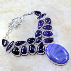 "GORGEOUS! STATEMENT BOTSWANA AGATE+AMETHYST SILVER NECKLACE 19 1/2"",125 GRAMS #Statement"