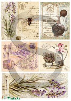 Virág sorozat: Levendula , Papír, Decoupage papír, A 4-s méretű rizsnyomat, vékony 20 gr-s rizspapíron, découpage technikához. Az eredeti nyomato..., Alkotók boltja