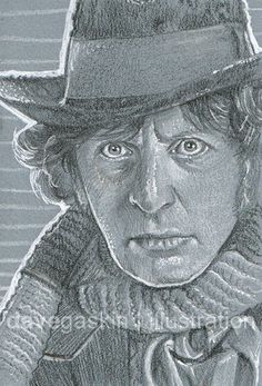 """3"""" x 4"""" sketch card of Tom Baker as Dr Who"""