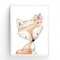 Woodland Nursery Print | Animal Nursery Art | Floral Woodland Nursery Decor | Girls Nursery Wall Art | Fox | Girls Prints | Art for Kids by TheKidsPrintStore on Etsy https://www.etsy.com/listing/499492834/woodland-nursery-print-animal-nursery