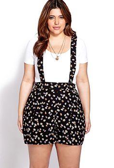 Dainty Floral Suspender Romper | FOREVER21 PLUS - 2000070373