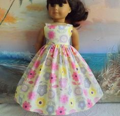 American Girl Doll Clothes Dress Pastel Yellow by sewgrandmacathy