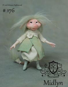 OOAK Pixie Brownie Art Doll Sculpture  Midlyn  by by nightswood