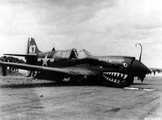 """After service in the air battle over China, The P-40 """"War Weary"""", of the 23rd Fighter Group, was assigned to a Chinese Fighter Pilot training unit. The plane was being flown to the school and as it was coming in for a landing at Kunming, China, for refueling, it was caught in a strong gust of wind and crash landed – ca May 1944."""