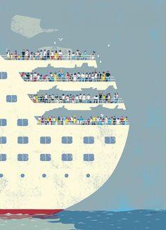 cruise ship Art Print by Tatsuro Kiuchi - X-Small Art And Illustration, Gravure Illustration, Pattern Illustration, Illustrations And Posters, Graphic Design Illustration, Graphic Art, Kunst Poster, Japan Design, You Draw