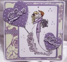 Wedding card with stamping bella uptown girl stamp