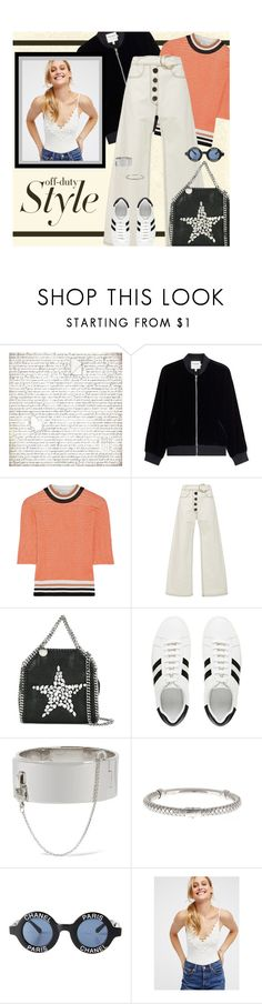 """Street Style: White Denim by Rejina Pyo"" by fashionmonkey1 ❤ liked on Polyvore featuring BasicGrey, Frame, Carven, Rejina Pyo, STELLA McCARTNEY, Eddie Borgo, Bottega Veneta, Chanel, Free People and whitedenim"