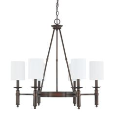 This Covington collection 6-light chandelier features a burnished bronze finish that will compliment many transitional decors. The decorative white fabric clip on shades soften the light and complete the look.