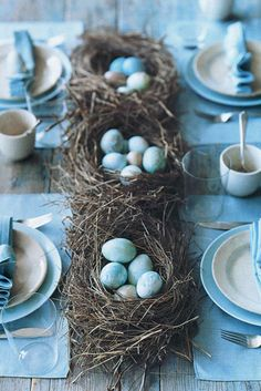 For a spring wedding instead of floral centerpieces try a row of birds nests.