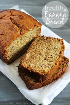 Healthy Banana Bread made with white whole wheat flour and Greek yogurt. I used half applesauce half coconut oil instead if canola, bake for 1 hour 5 minutes, it's the best banana bread ever! Healthy Sweets, Healthy Baking, Healthy Snacks, Healthy Recipes, Easy Recipes, Healthy Banana Bread, Banana Bread Recipes, Baking Recipes, Dessert Recipes