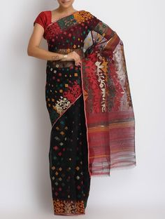 Buy Black Multi Color Cotton Zari Dhakai Jamdani Saree Online at Jaypore.com