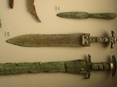Bronze sword, dagger, and spearhead from the Mycenaean period of Greece (1900-1100BCE). These are the type of weapons that the Spartan and Achaean nobles would have carried to the shores of Ilion (Troy).